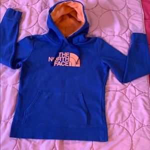 The north face royal blue hoodie with neon logo🍊